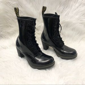 Dr.Martens Black Darcie Patent Leather Boots Sz 9